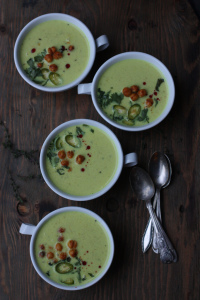 Ridgegourd Yogurt-Coconut Milk Stew with Sriracha Garbanzo Beans