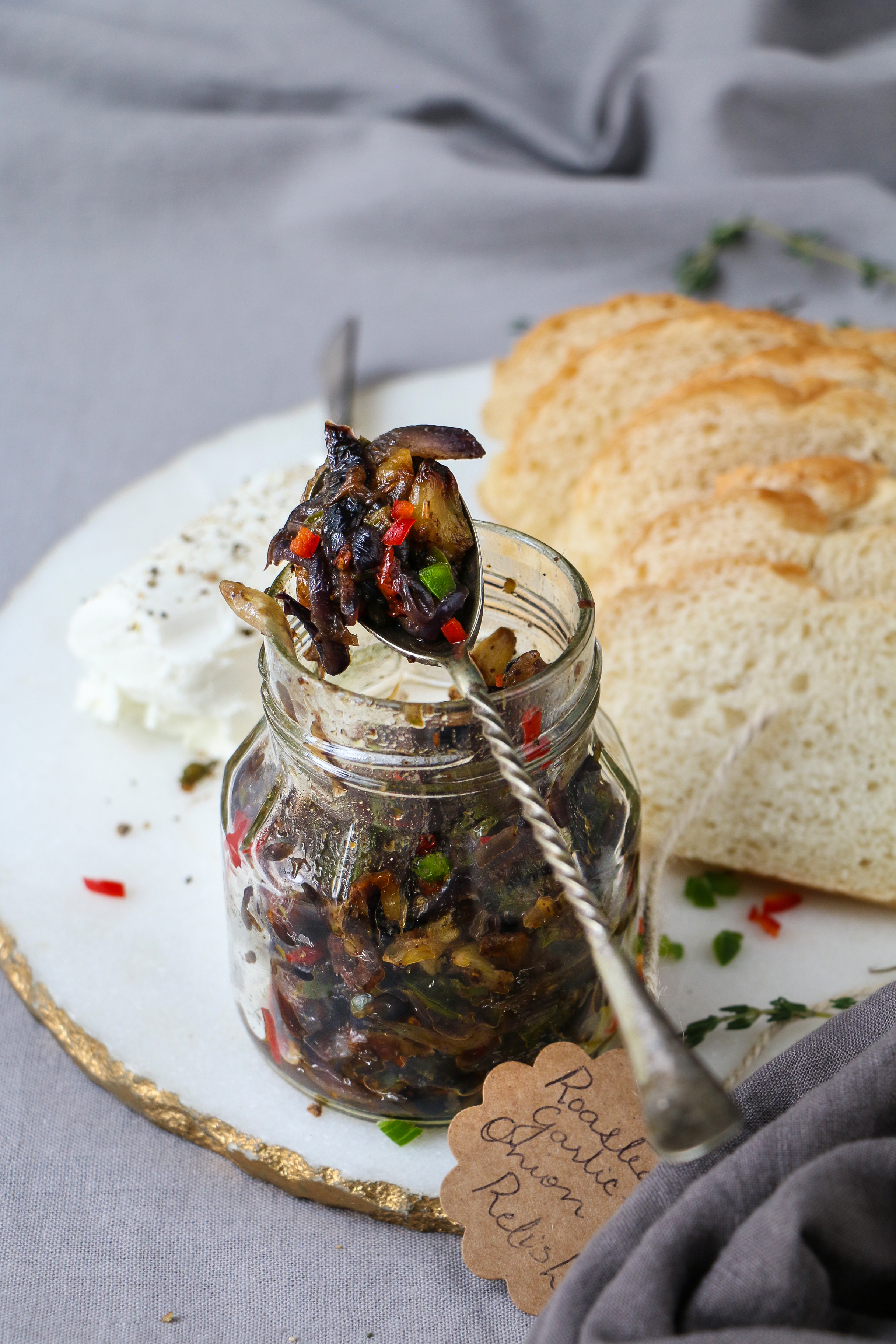 Roasted Garlic and Onion Relish in pickling spices/Bruschetta |foodfashionparty| #garlic