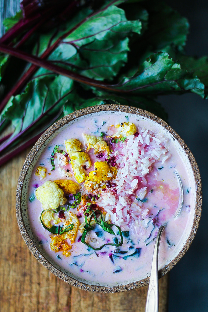 Beet greens yogurt spicy soup with Curried Cauliflower |foodfashionparty| #beetyogurtsoup