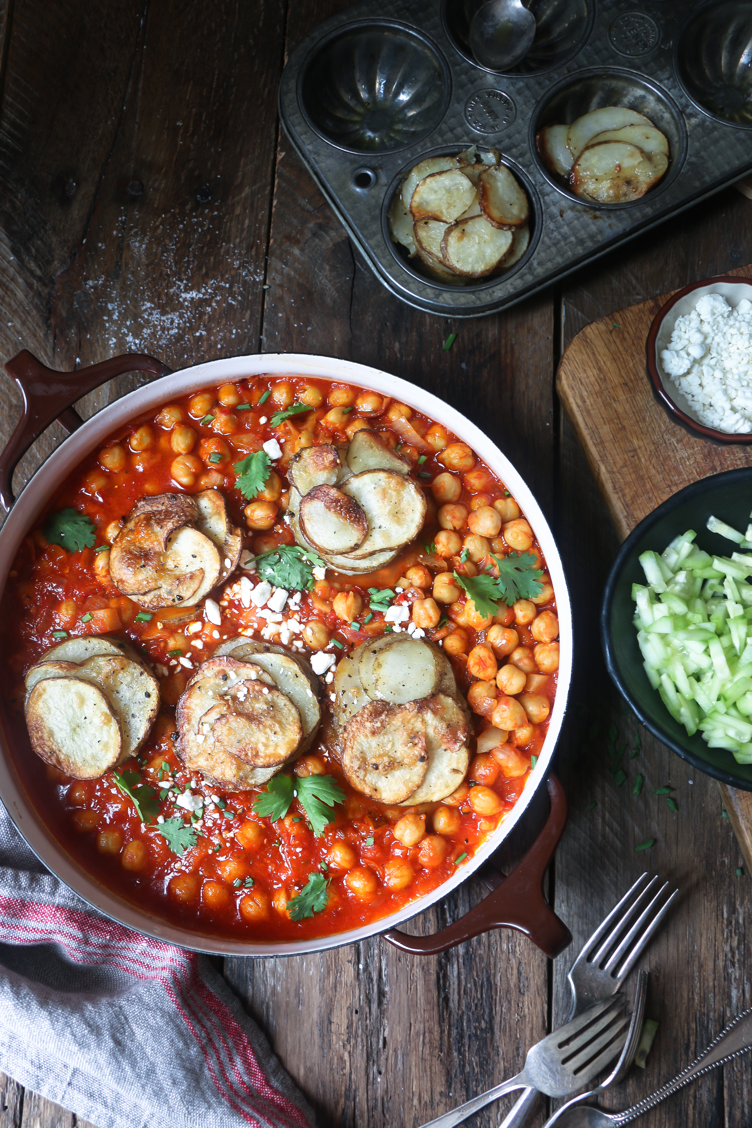 Quick and Easy Harissa Chickpea Stew with Parmesan Potato Peppery Stacks  foodfashionparty  #harissa