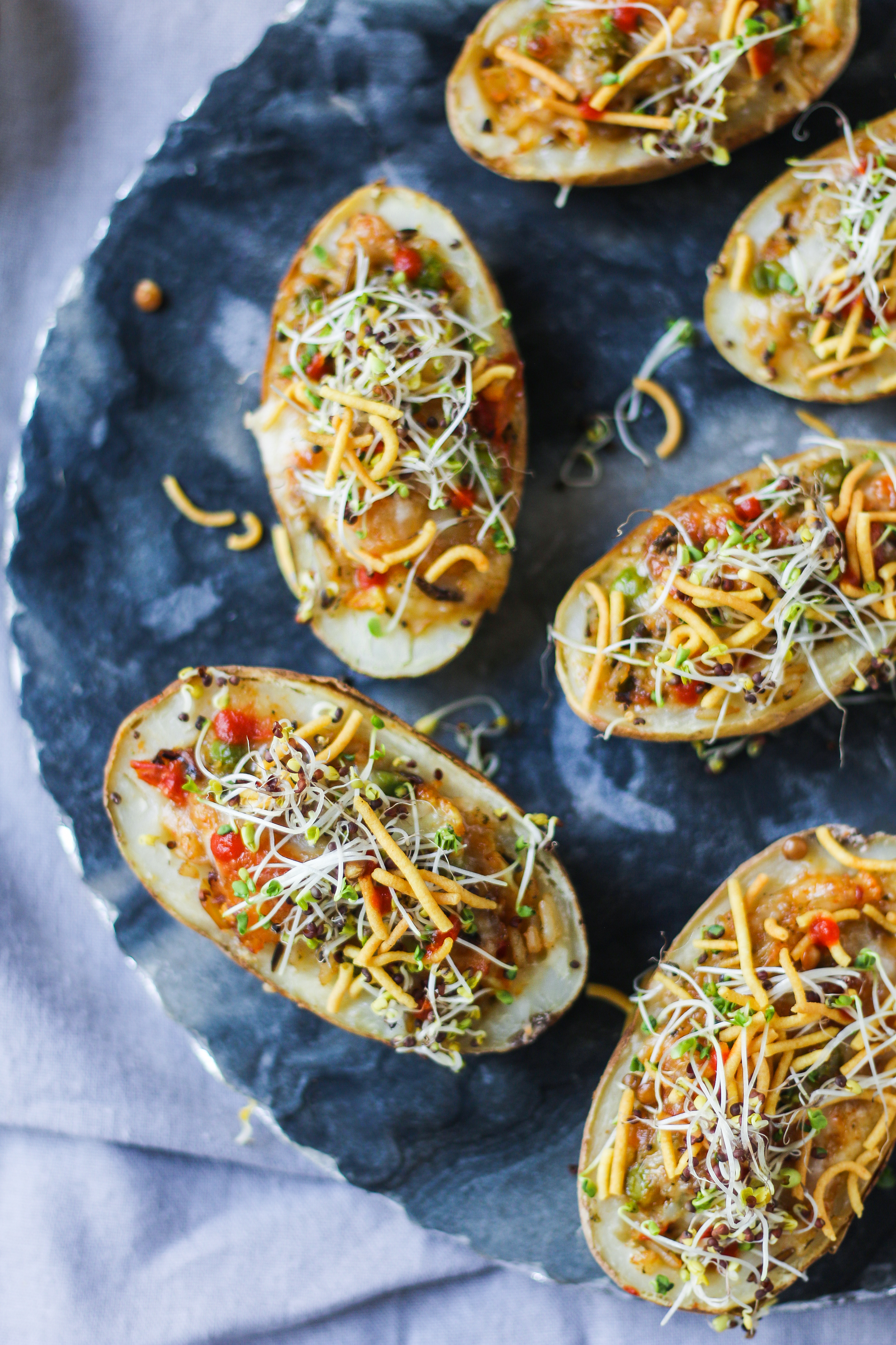 Twice Baked Potato with Pepper Jack-Cauliflower Peas Curry (Indian style) |foodfashionparty| #Indianinspired