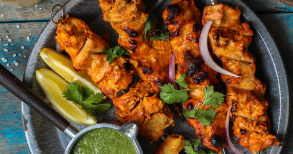 Spicy Yogurt Chicken With Cucumber Mint Sauce Grilled Or Baked