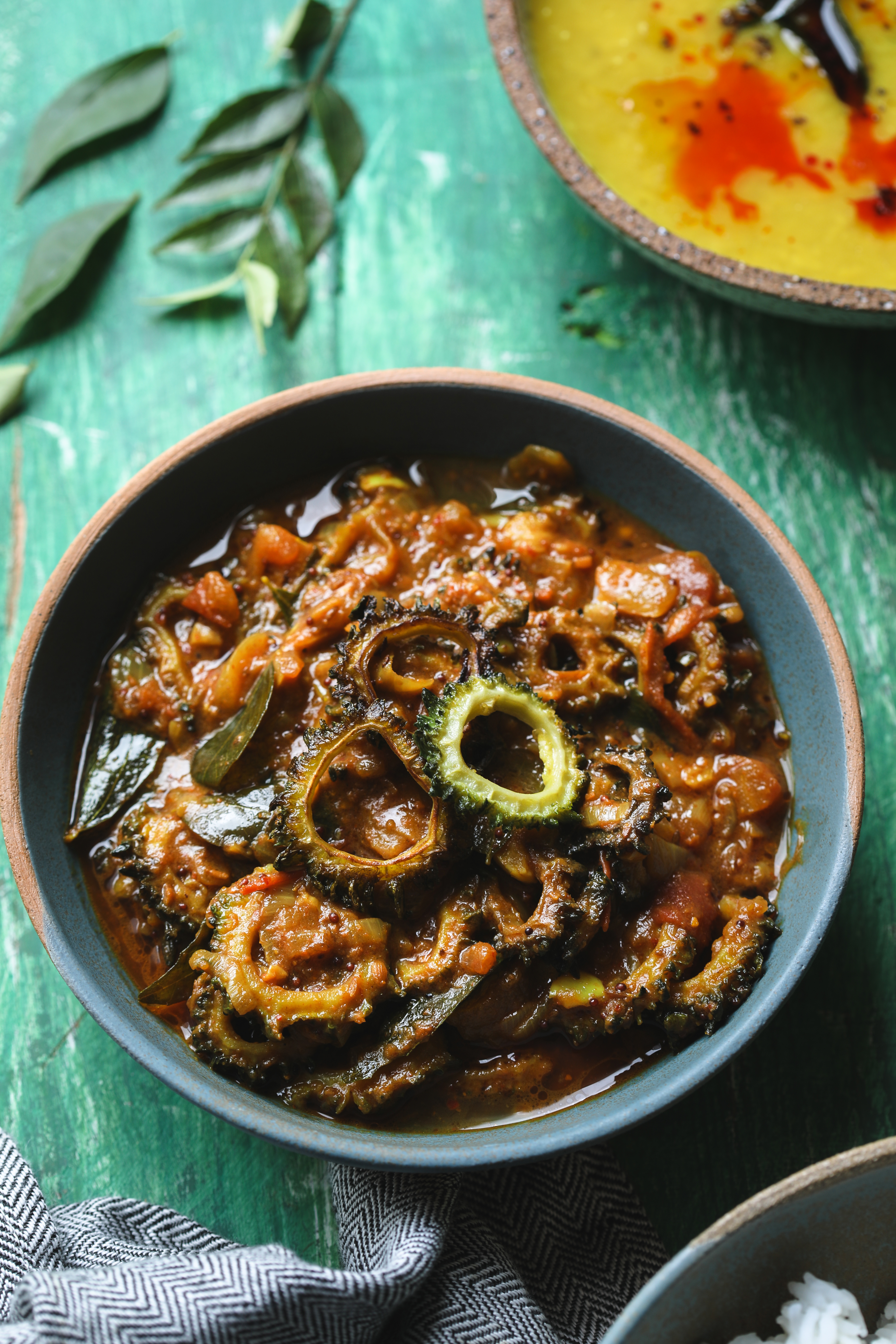 Bitter gourd Curry- Paavakai Kozhumbu